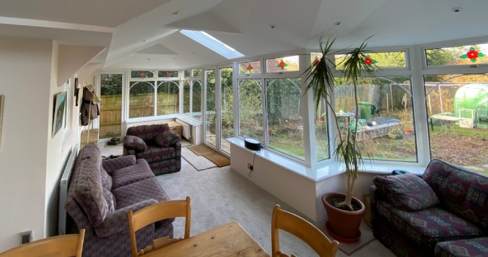 Living and dinning area after conservatory transformation to open plan living