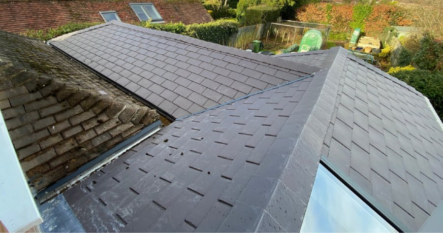 Roof from above after completed conservatory transformation