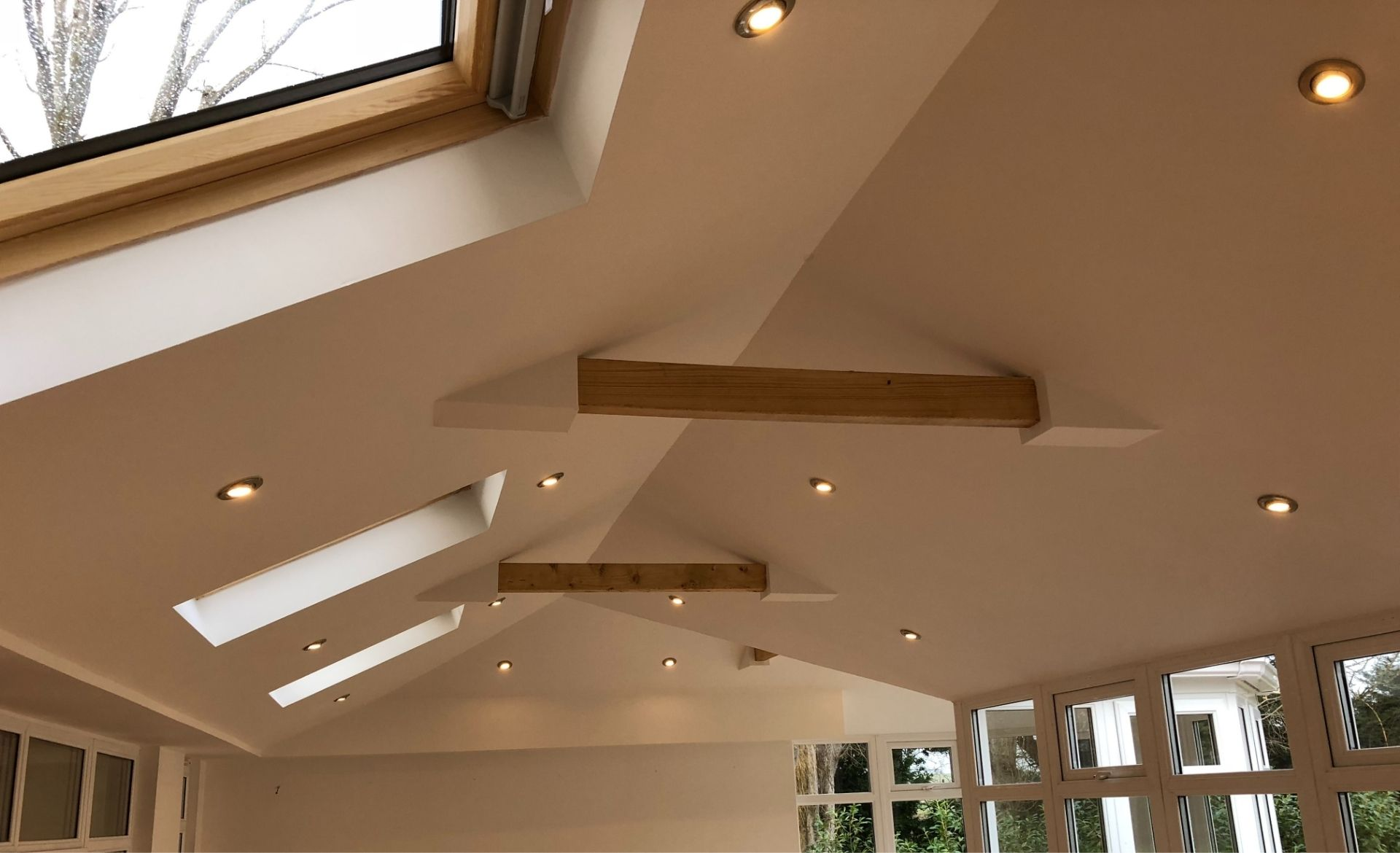 finished conservatory transformation with skylights